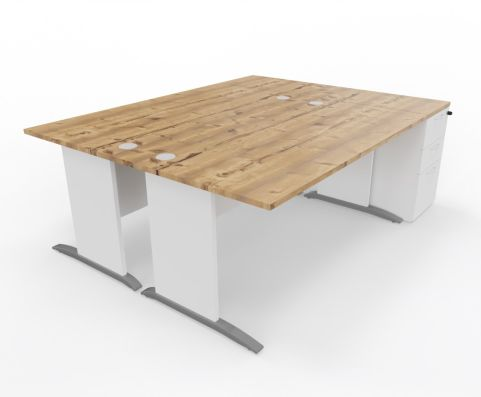 Oslo Twin Desk Timber Top White Sides With Pedestal Drawers - Copy