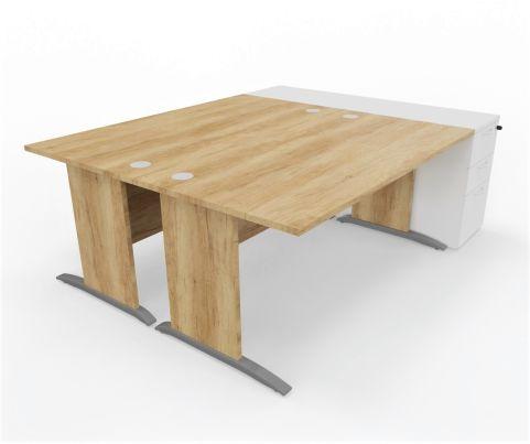 Oslo Twin Desk With Twin Pedestals White - Copy