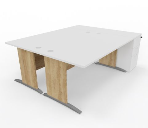 Oslso Straight Desk Panel Legs With Drawers On Right Hand Side White Top Timber - Copy