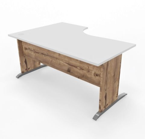 Oslo Desk Left Handed White Top Timber Legs Frront View - Copy (2)