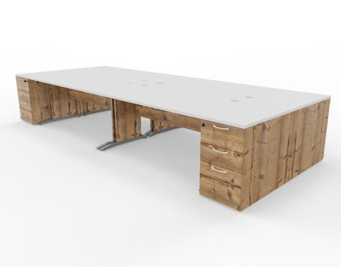 4 Person Oslo Desk Bumdle Timber And White Top