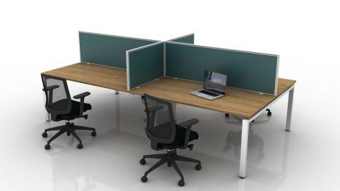 Future Protection Glazed Desk Screens Clear Glazed White Frame Antibacterial Vinyl