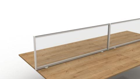 Future Protection Glazed Desk Screens Clear Glazed White Frame