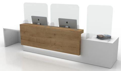 Future Freestanding Sneeze Screen Shown With An Acrylic Foot On A Reception Desk