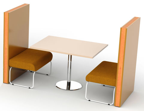 Letta 2 Person Booth - Orange Seating