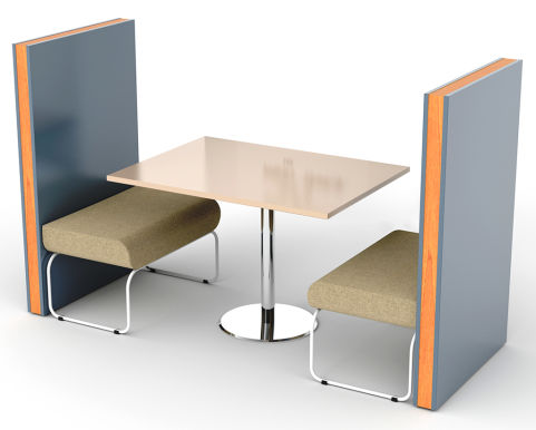Letta 2 Person Booth - Green Seating