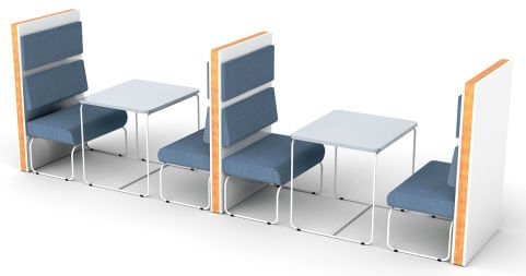 Letta 4 Person Booth With Loop Frame Seating And Tables