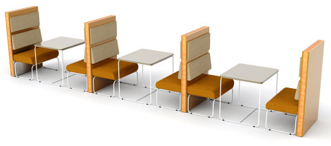 Letta 6 Person Booth With Loop Frame Seating And Tables