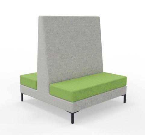 Bruce High Back Sofa Blazer Grey Fabric Green Seat Sofa