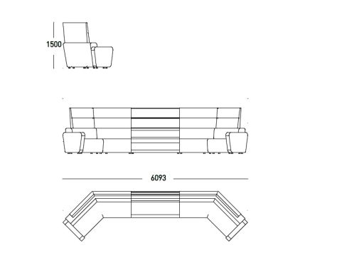 N ALLY Modular Seating Unit 6093mm Wide X 1500mm High