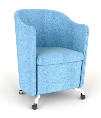 Flower Tub Chair Light Blue On Castors