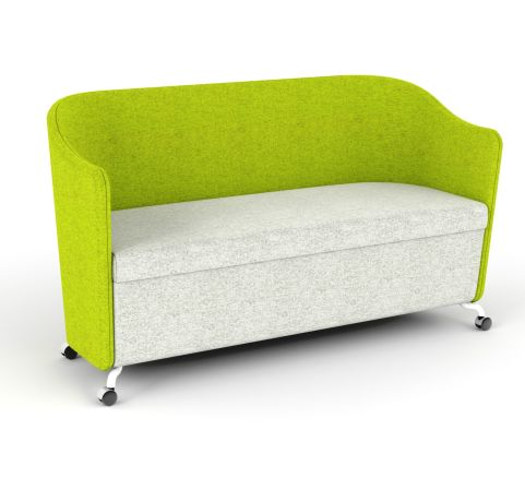 Flower 2 Seater Sofa In Antibacterial Vinyl And Fabric