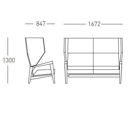 Shard High Winged Sofa Dimensions 1672mm Wide X 847mm Deep X 1300mm High