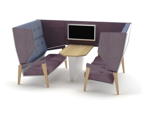 Shard 4 Seater High Back Booth With Table In Antibacterial Vinyl And Fabric