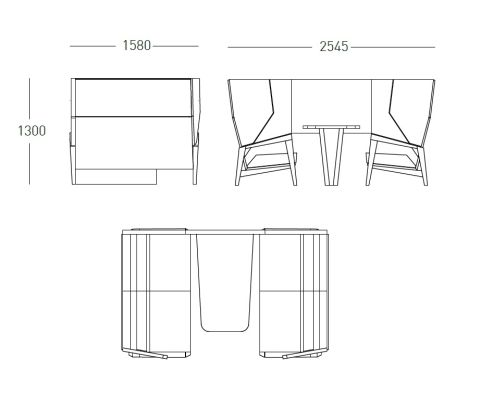 Shard High Winged Sofa 4 Person Booth 2545mm Wide X 1300mm High X 1580mm Deep
