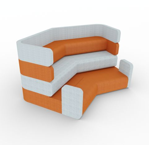 PLAZA STADIUM 1600mm High X 3056mm Deep Orange And Grey Fabric