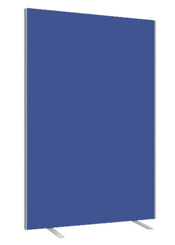 Blue Freestanding Fabric Screen With Silver Trim