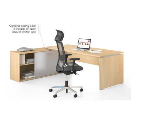 Moka Desk In Light Oak With Optional Storage Unit