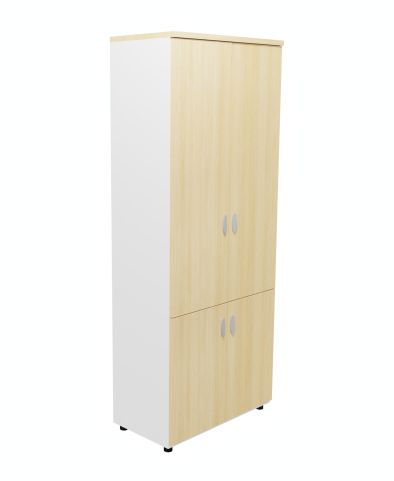 Armada Tall Cupboard Wit Lower Cupboard In Light Oak With White Sides