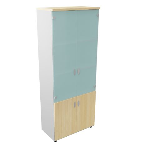 Armada Tall Cupboard With Open Storage Unit 3 Shelves Glass Upper Doors Maple