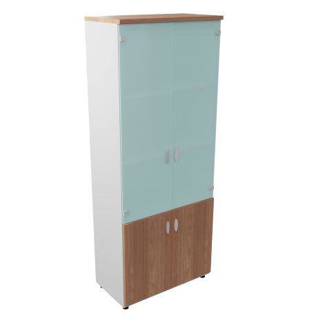 Armada Tall Cupboard With Open Storage Unit 3 Shelves Glass Upper Doors Walnut