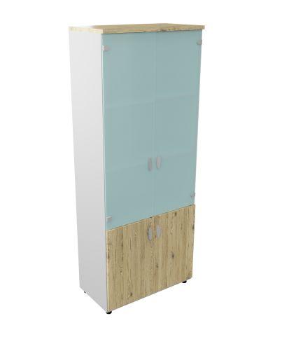 Armada Tall Cupboard With Open Storage Unit 3 Shelves Glass Upper Doors Brunswick Oak