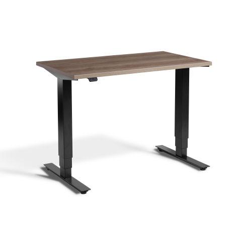 Rapid Mini Height Adjustable Desk Black Frame - Grey Nebraska Oak Top
