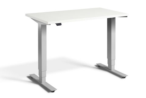 Rapid Mini Height Adjustable Desk Silver Frame - White Top