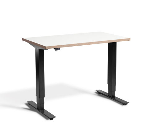Rapid Mini Height Adjustable Desk Black Frame White Top With Ply Edging