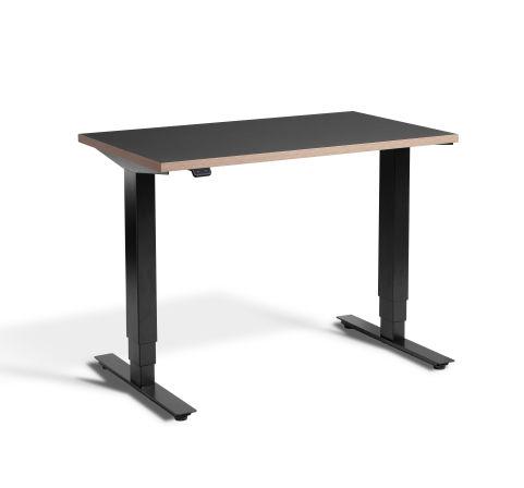 Rapid Mini Height Adjustable Desk Black Mini - Graphite Top With Ply Edging