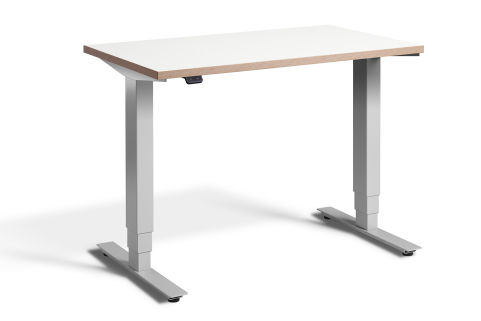 Rapid Mini Height Adjustable Desk Silver Frame - White Top With Ply Edging