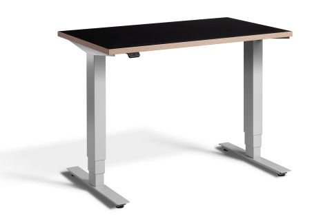 Rapid Mini Height Adjustable Desk Silver Frame - Black Top With Ply Edging