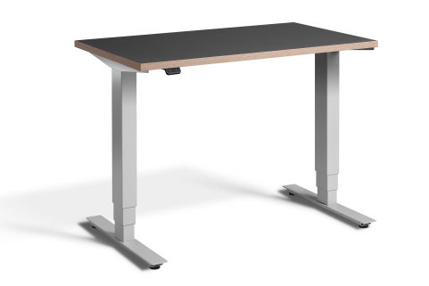 Rapid Mini Height Adjustable Desk Silver Frame- Graphite Top With Ply Edging