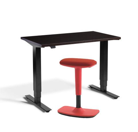 Rapid Mini Height Adjustable Desk Wenge Top Red UP Stool