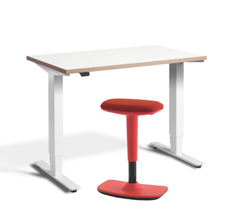 Rapid Mini Height Adjustable Desk White Top Ply Edge With UP Stool Red