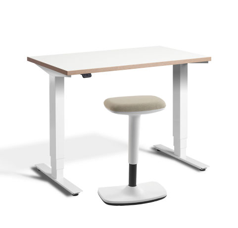 Rapid Mini Height Adjustable Desk White Top Ply Edge With UP Stool Sand