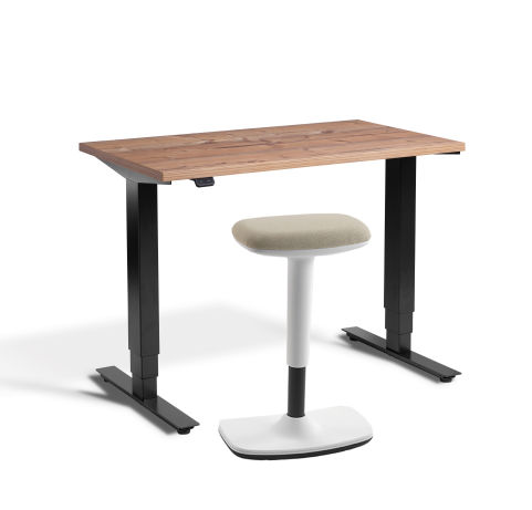 Rapid Mini Height Adjustable Desk Bundle - Timber Top - With UP Stool