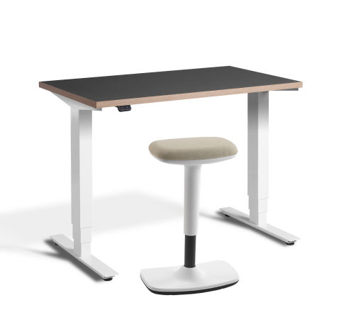 Rapid Mini Height Adjustable Desk Gpaphit Top With UP Stool White Frame Sand Seat