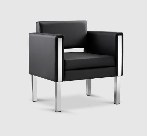 Tibecca Arm Chair Leather Vinyl - Chrome Feet