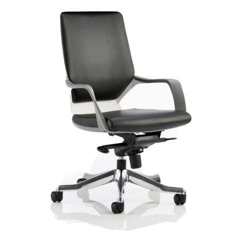 Atomic Black Leather Chair With A Durable White Shell