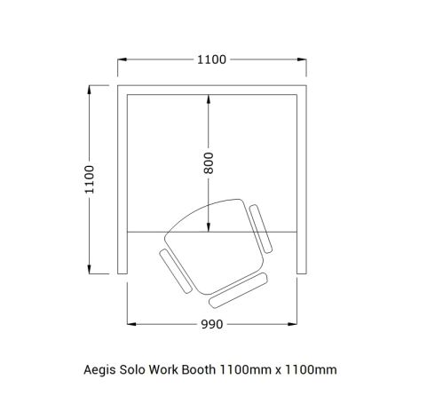 Aegis Solo Work Booth 1100mm X 1100mm Small Dimensions