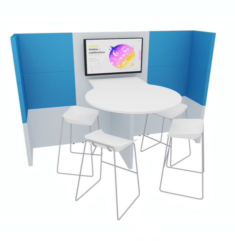 SUKA MEDIA POD 5 Front View With 1100mm High Table And Stools