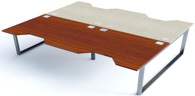 4 Person Double Wave Bench Desk