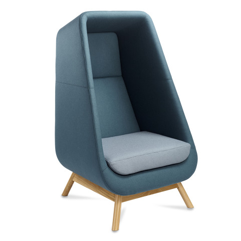 Muse Privacy Booth Chair with Wooden Frame